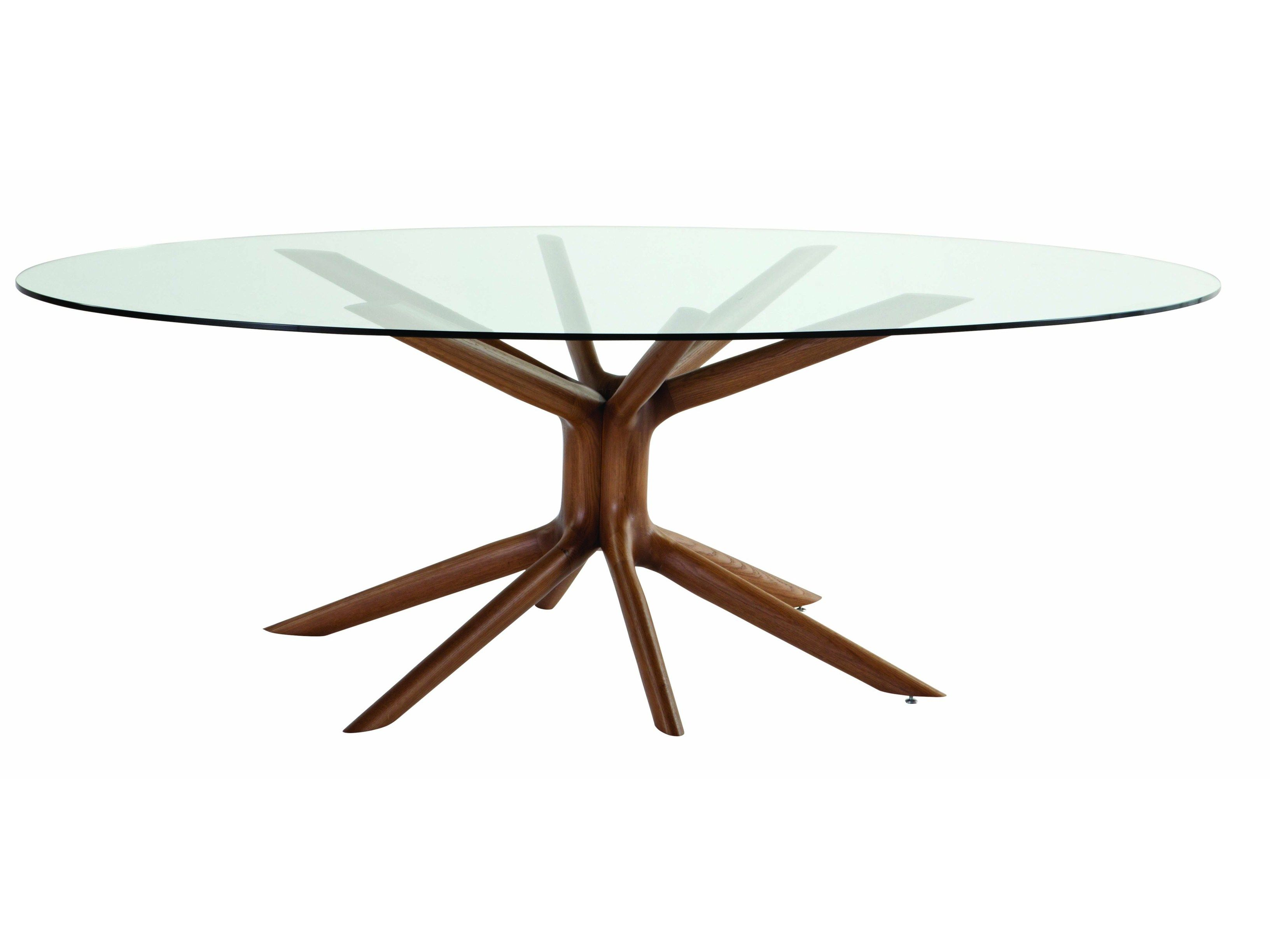 mesa de jantar oval de vidro mangrove roche bobois