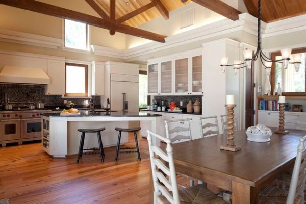 Traditional Rustic Open Kitchen Design With Angled Ceiling And