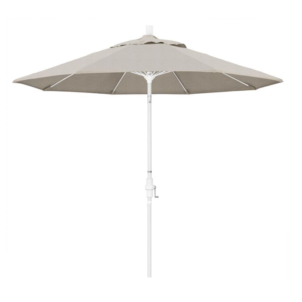 California Umbrella 9 Ft Fiberglass Market Collar Tilt M White