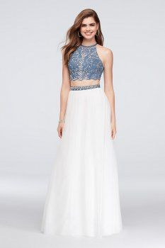 da45887c 2018 New Style Beaded Denim and Tulle Two-Piece Dress Blondie Nites ...