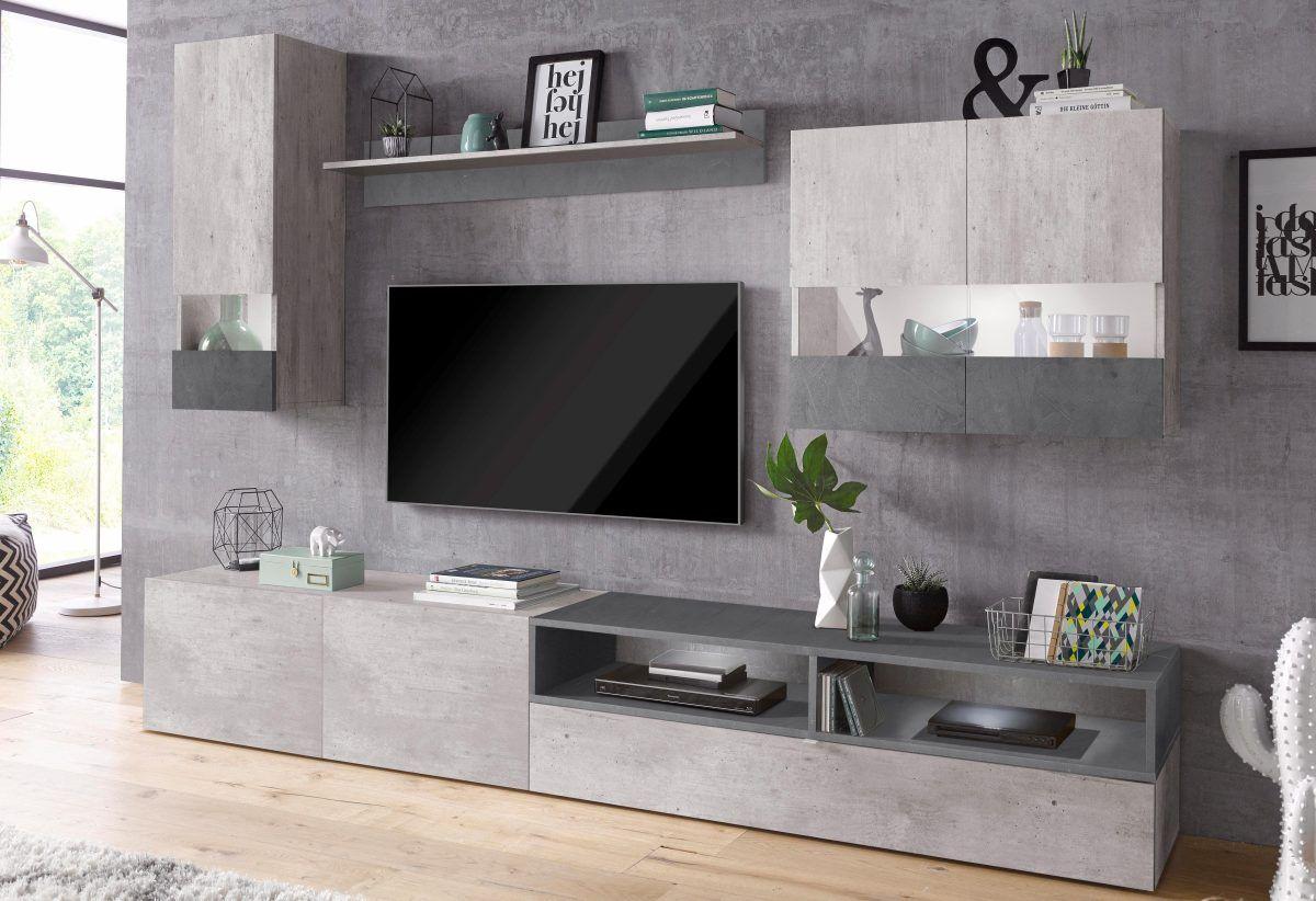 Wohnzimmer Hochglanz ~ Tecnos wohnwand »negroni« grau hochglanz fronten fsc® zertifiziert