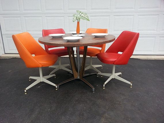 mid century dinette set retro dining table and chairs chromcraft table brody swivel atomic orange and red chairs - Chromcraft Dining Room Furniture