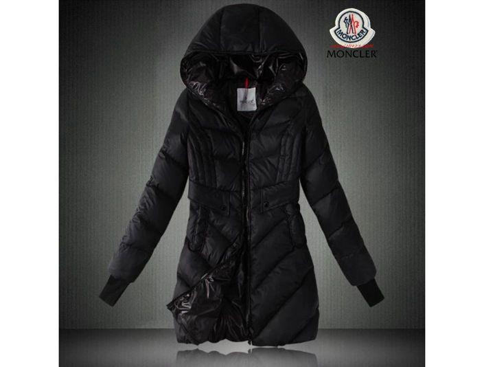 Billiger Moncler Damen Lange Daunen mantel mit Kapuze Schwarz outlet zürich 7ac247bf26