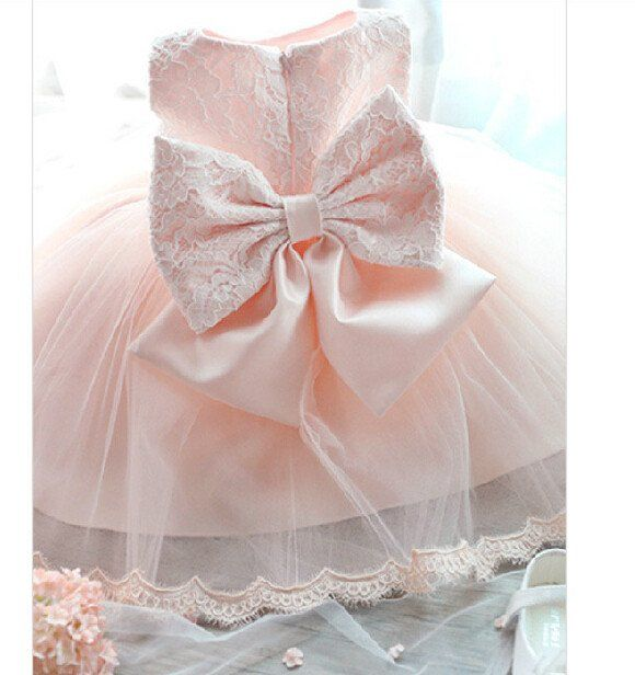 Pink Formal Tutu Bow Flower Lace Dress - Katy's Princess Boutique
