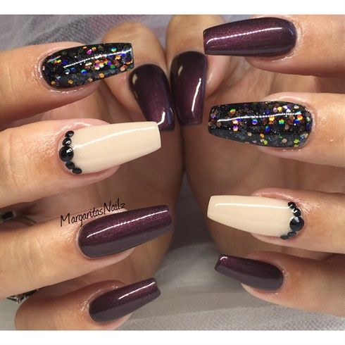 image result for beautiful fall color coffin nails  wine