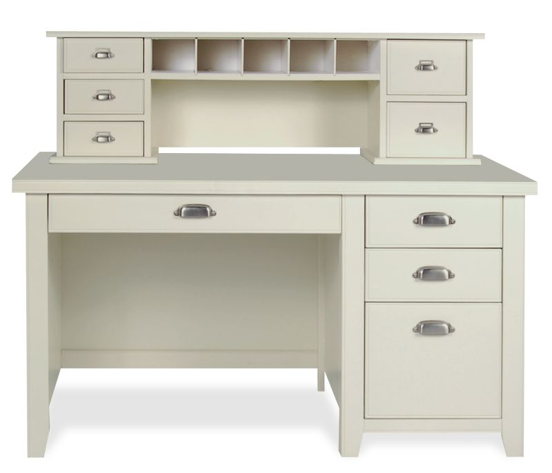 Tribeca Loft Desk and Hutch Linen White Constructed of