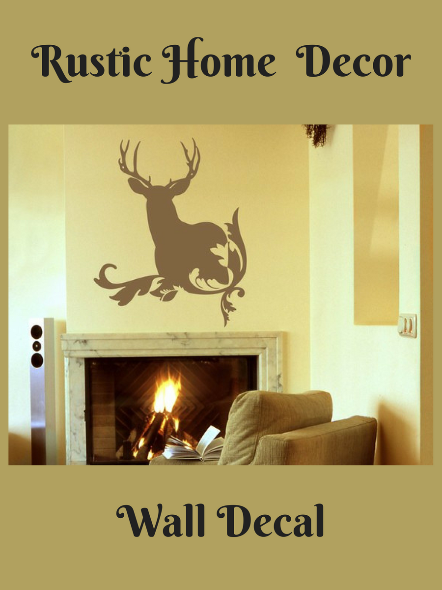 Deer Wall Decal, Rustic Home Decor, Deer Antler Wall Decals, Hunting ...