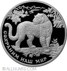 3 Rubles Russia 1 oz Silver 2011 Southwest Asian Leopard Proof
