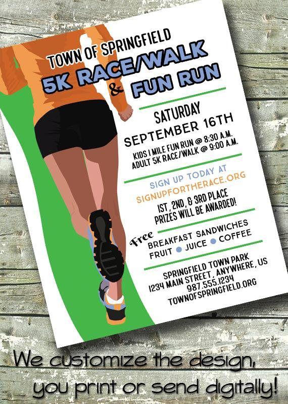 5k Fun Run Race Community Marathon 5x7 Invite 8 5x11 Etsy In 2021 Fun Run Invitations Racing