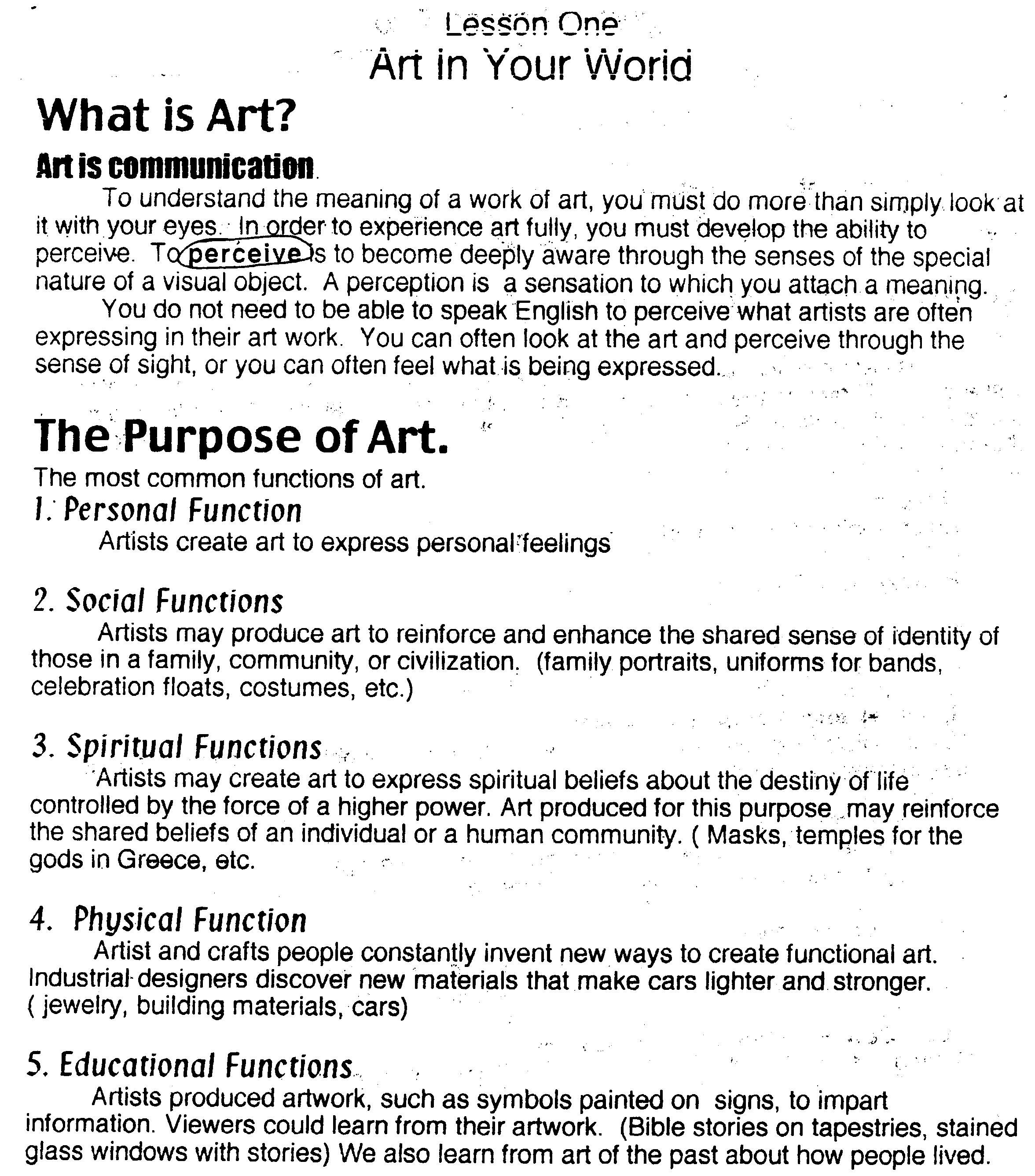 Worksheets For Art Class