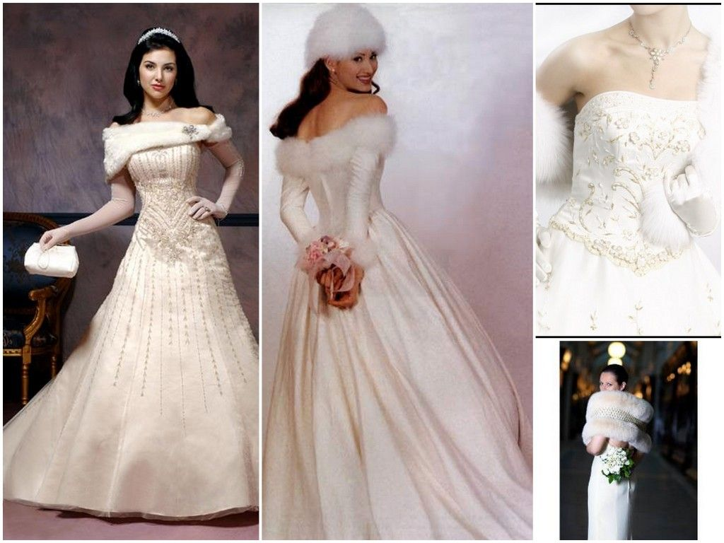 Stunning Snow White Princess Wedding Dresses Bridal Gowns For Winter Weddings