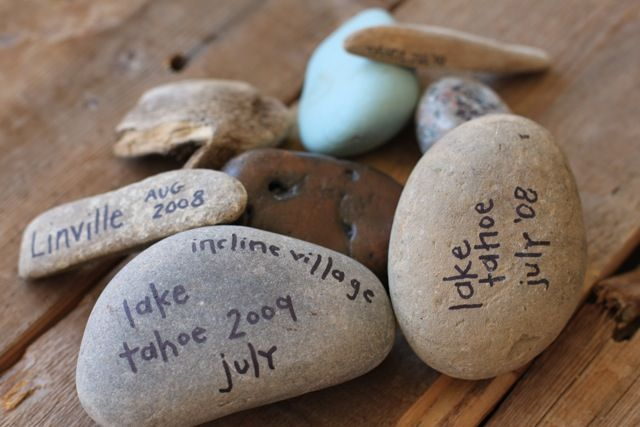 Great ideas for travel keepsakes!  My friend does this with her family. The kids are thrilled with their special rock to add to their collections instead of every single rock they see in the driveway. :)