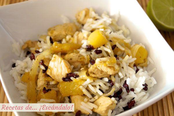 Deliciosa receta de inspiración tailandesa con exóticos contrastes. Arroz basmati y arroz negro, el toque dulce del mango, y aromática salsa lemongrass ;)