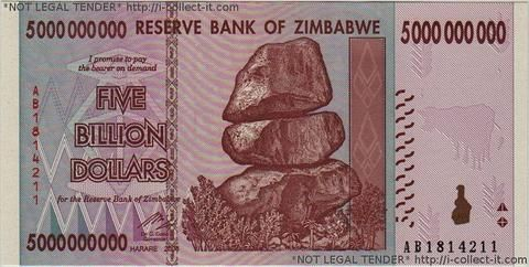 5 Billion Zimbabwe Dollars Billions At