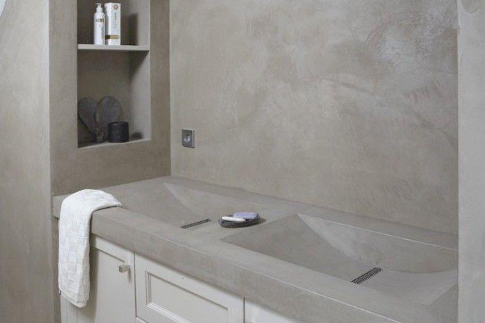Prachtige betonlook badkamer met unieke wastafel www.betonlookdesign ...