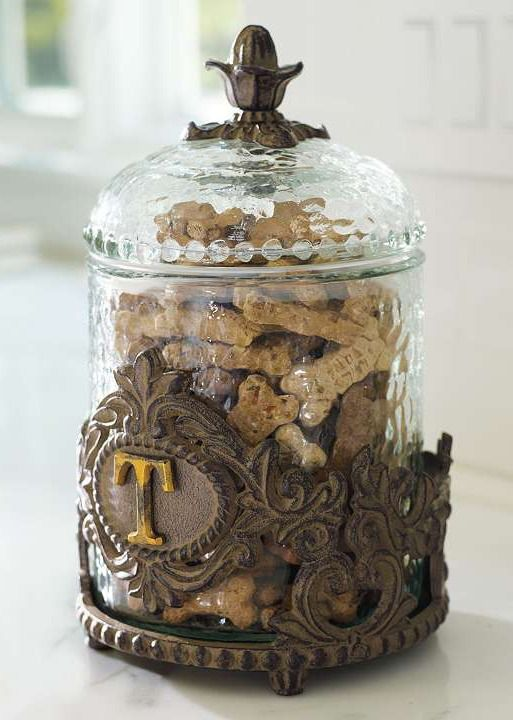 This elegant cast iron and textured glass Personalized Decorative Baroque Pet Treat Jar makes storing your pet's treats more delightful for you.