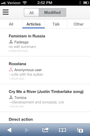 Wikipedia adds watchlists to mobile web app, plans to