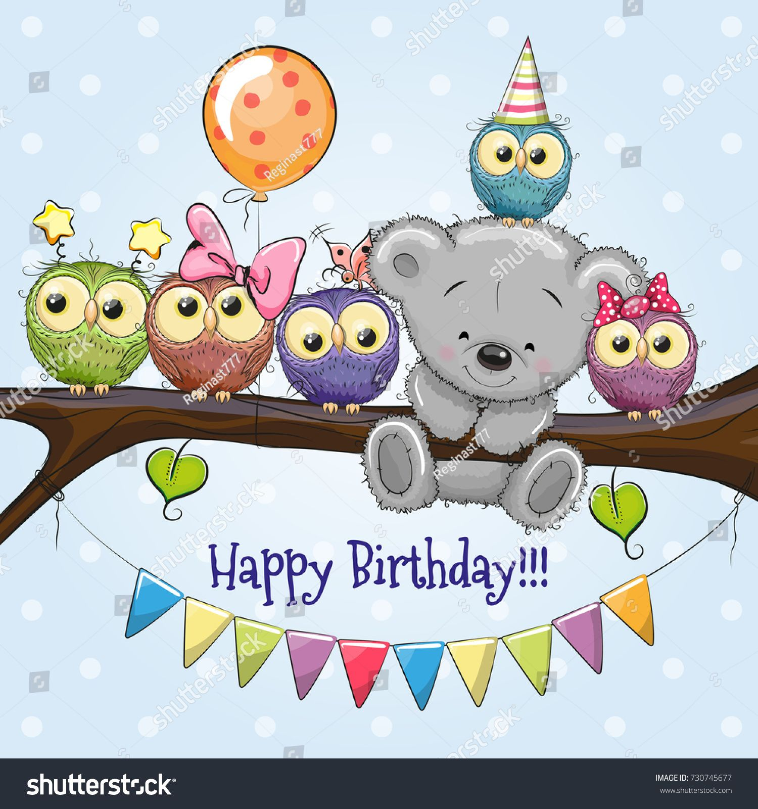 Illustration De Stock De Five Owls Bear On Branch Balloon 730745677 Carte Joyeux Anniversaire Joyeux Anniversaire Pour Enfants Carte Anniversaire