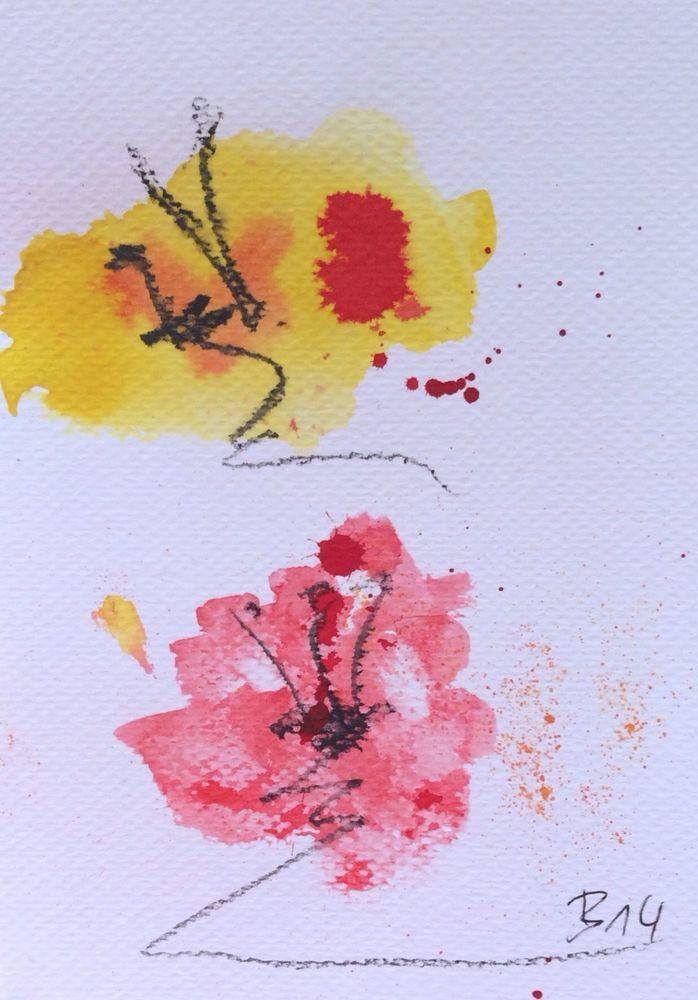 D Schmidt Abstraktes Original Aquarell Mohn Blumen Kunst Malerei