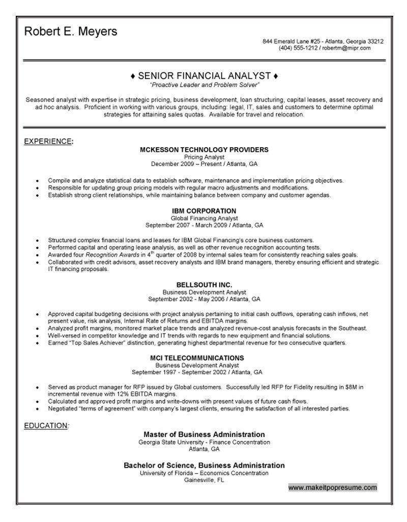 Senior Financial Analyst Resume Management Analyst Resume Sample Resumes Cover Letter  Home