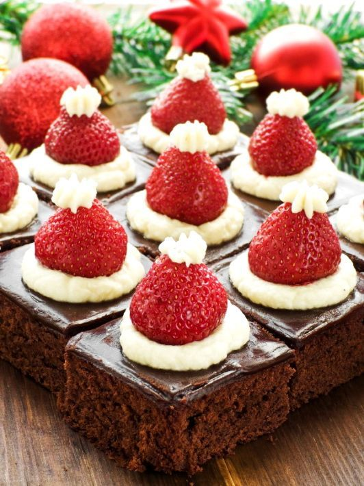 Nice Holiday Party Dinner Ideas Part - 14: Santa Hat Mini Brownies U2013 Healthy Christmas Party Dinner Menu Dessert Ideas  - Bored Fast Food