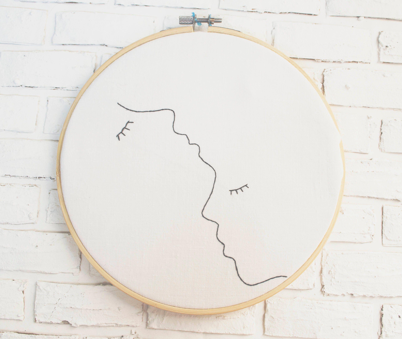 Broderie d'art de cerceau un dessin au trait broderie d'art de crèche art art contemporain dessin minimaliste broderie débutant broderie art cadeau