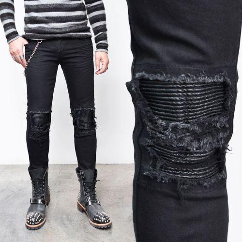 Mens destroyed biker jeans
