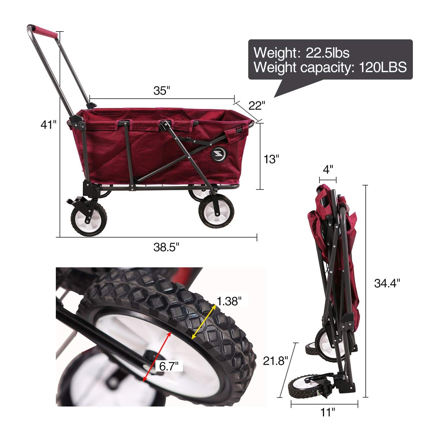 REDCAMP Collapsible Utility Cart for Camping Folding Wagon