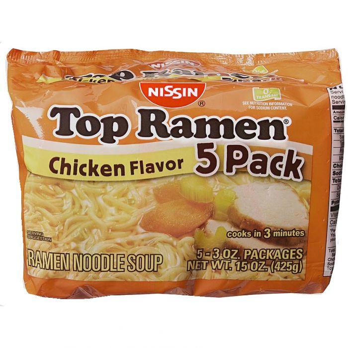 Nissin Top Ramen Chicken 5pk 3oz Chicken Flavors Top Ramen Savory Chicken