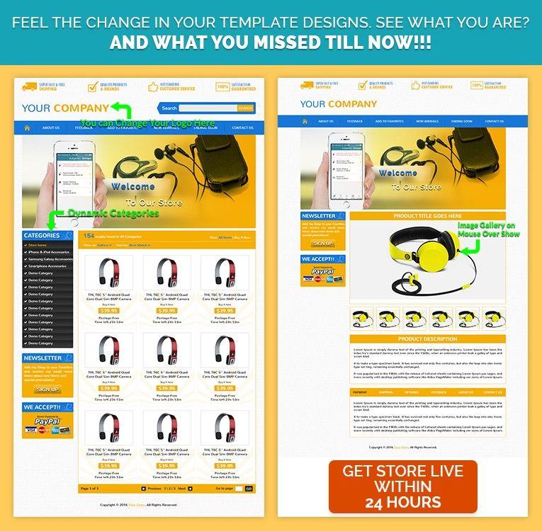 Orange Theme Custom eBay store template design for Latest Gadgets