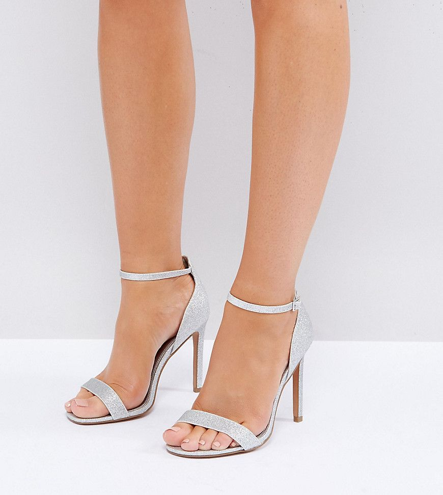 ASOS HANG TIME Wide Fit Barely There Heeled Sandals Silver