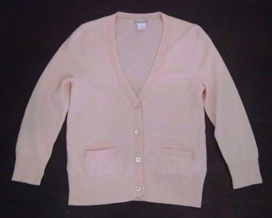 J Crew Cashmere Sweater Womens M Pale Pink V-Neck Cardigan ...