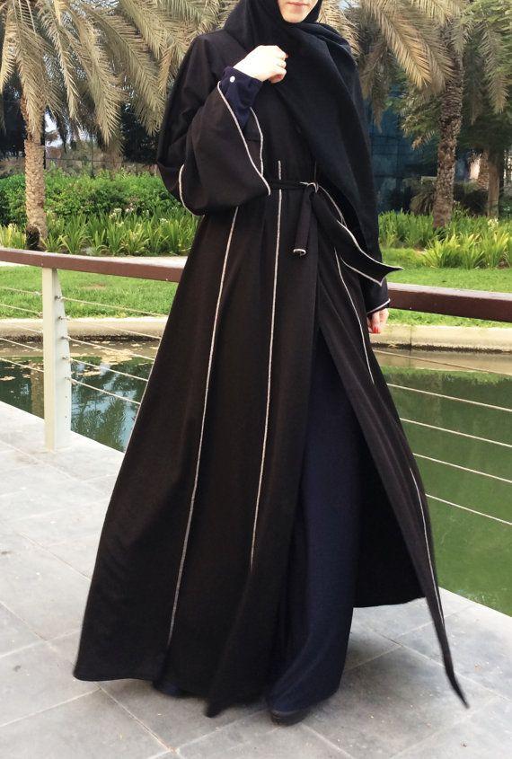 Hemming Stitch Abaya With Panels Black Plus Size Abaya Dubai