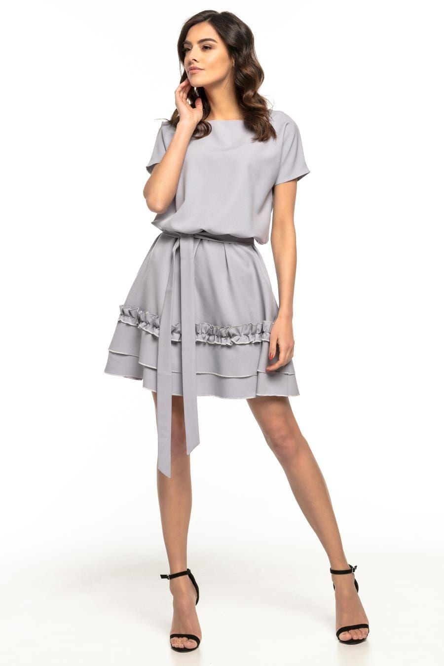 99d2d0c9a3 Rozkloszowana Sukienka z Górą Typu Kimono i Paskiem w Talii Szara TE267