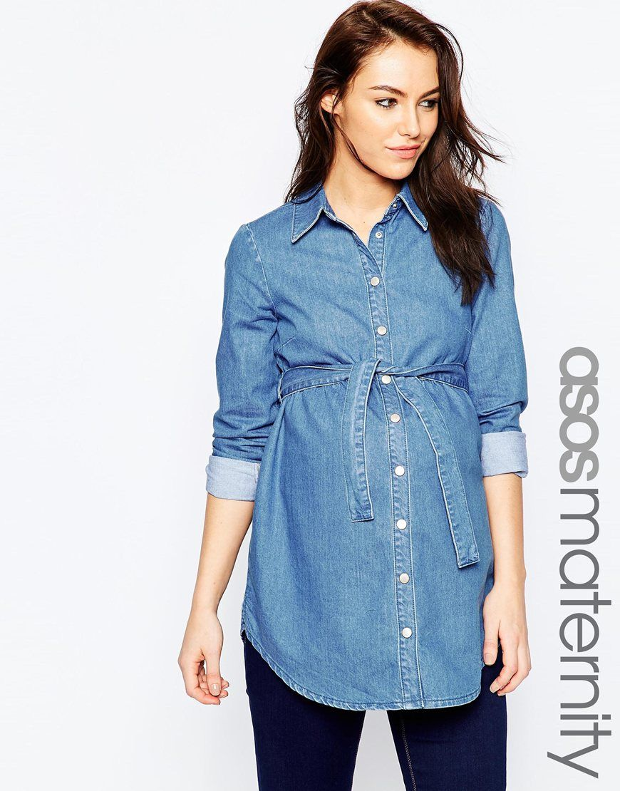 Image 1 of asos maternity belted denim shirt baby pinterest image 1 of asos maternity belted denim shirt ombrellifo Image collections