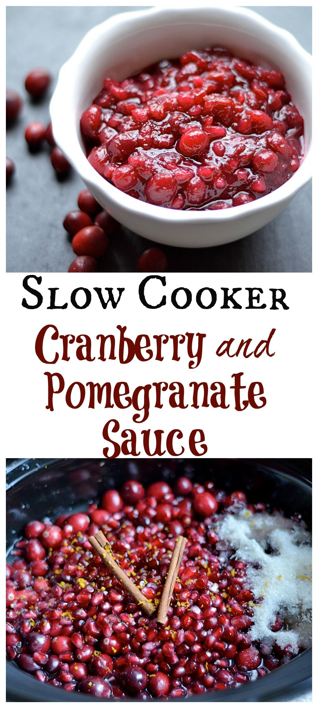 Make the holidays easy on you with this SLOW COOKER cranberry sauce!! Oh and the added deliciousness of pomegranate will make this your new favorite way to make the classic dish!! GF and Vegan.