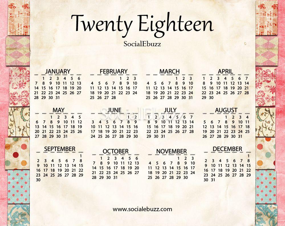 2018 calendar excel template