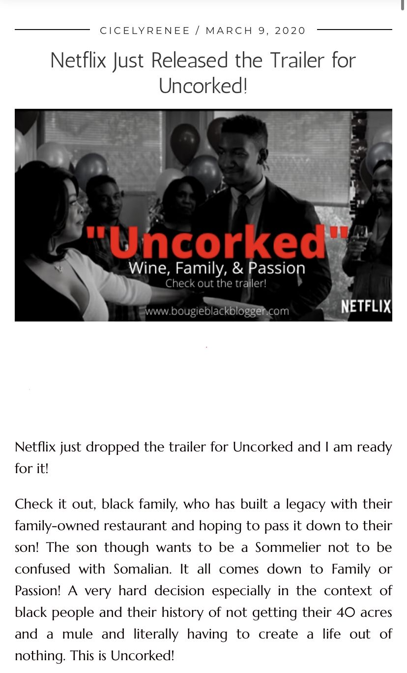Netflix Just Released The Trailer For Uncorked Bougie Black