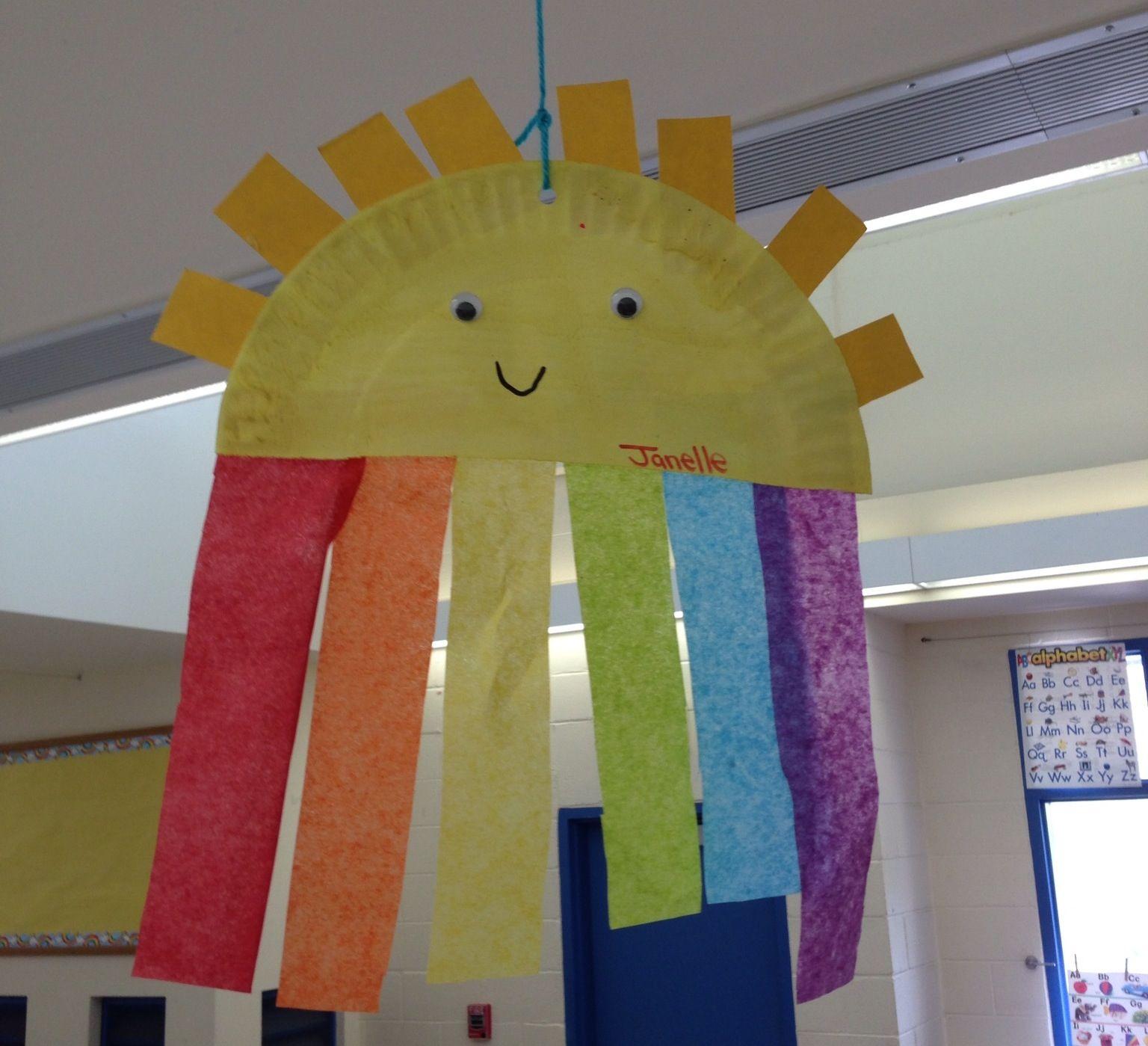 soleil arc en ciel avec une assiette en carton activit s pour les enfants pinterest. Black Bedroom Furniture Sets. Home Design Ideas