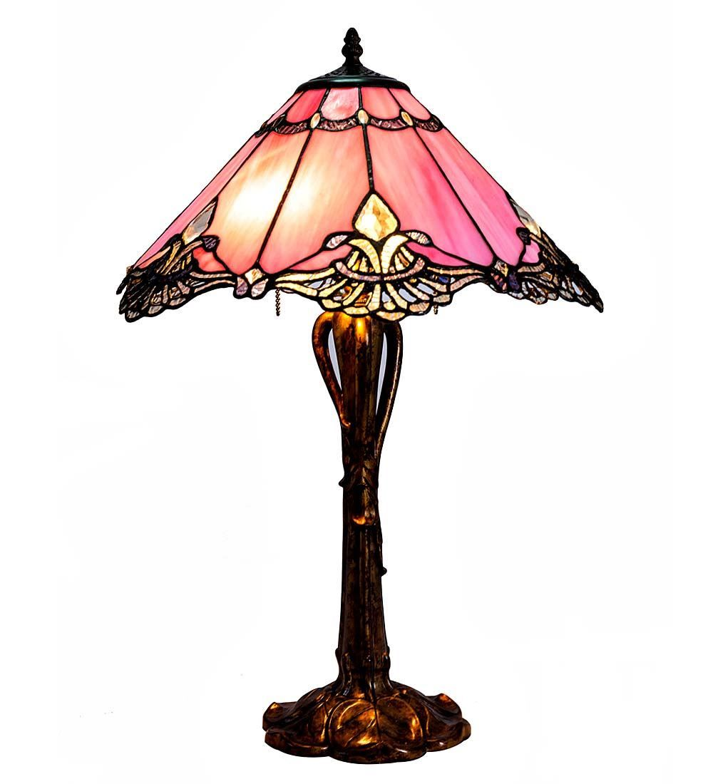 Pink Crystal Stained Gl Table Lamp Wind Weather