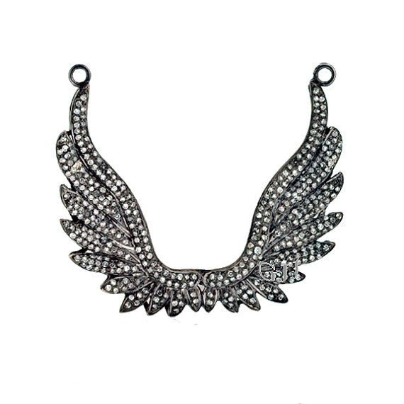 Pave Diamond Angel Fairy Wings vintage Pendant of 925 Sterling Silver