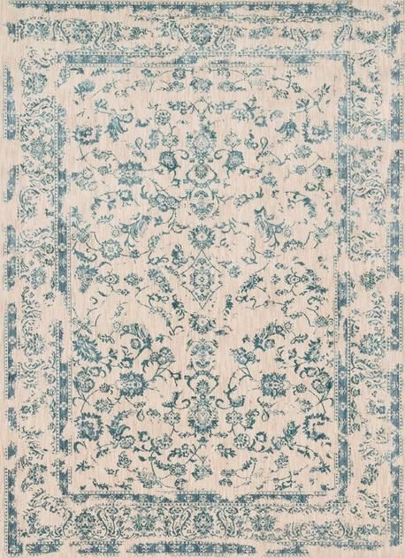 Frosty and pristine, this ornate, traditional rug in a warm cream color with icy blue floral accents is a contemporary spin on ancient craft | Loloi Florence FO-01 Rug
