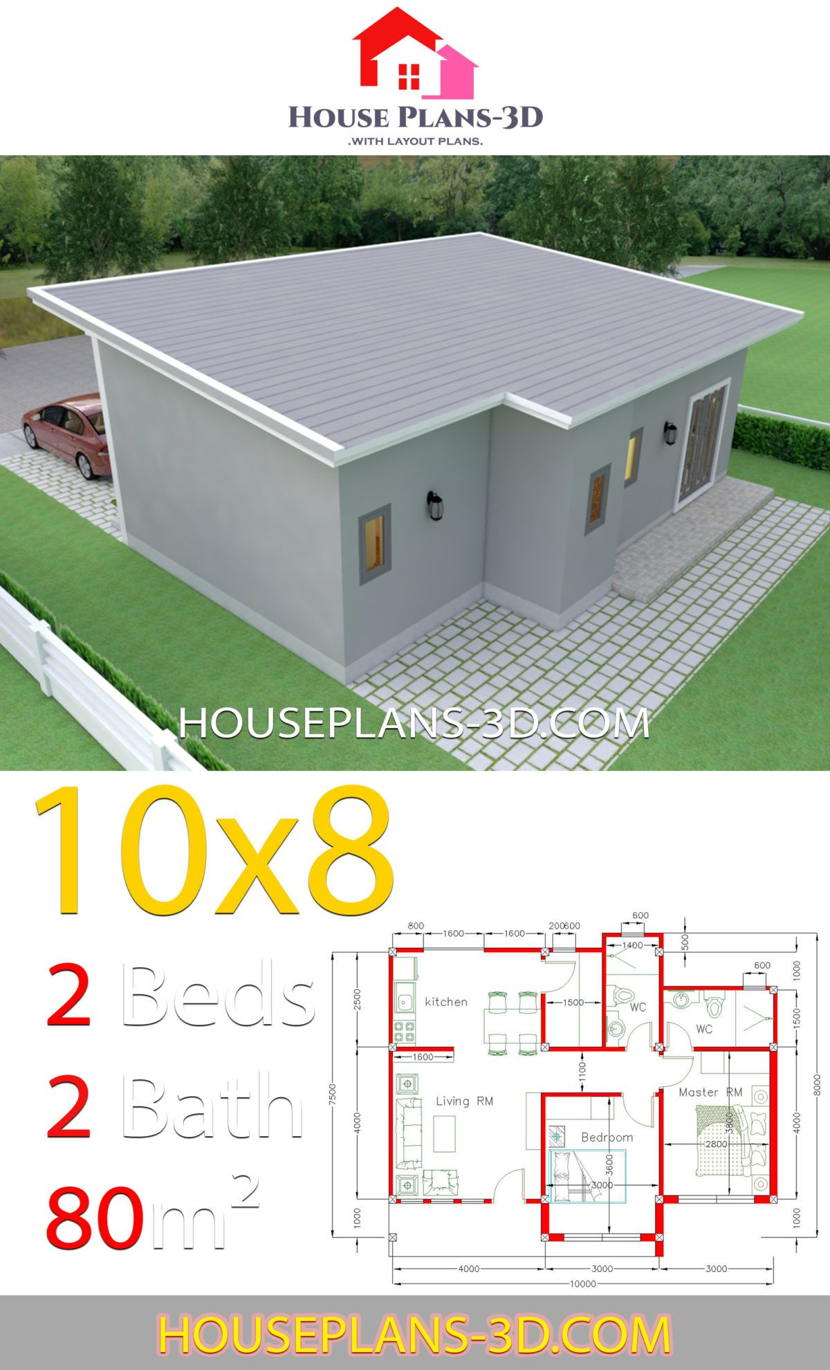 House Plans 10x8 With 2 Bedrooms Shed Roof House Plans 3d Shed Roof Design House Plans Small House Design Plans