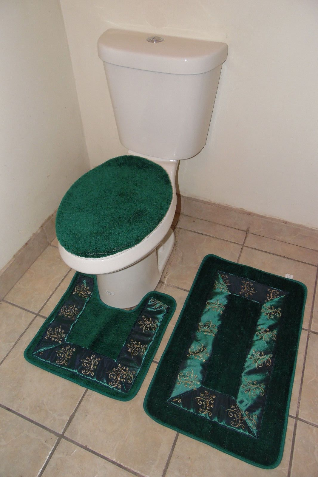 Bathmats Rugs And Toilet Covers 133696 3pc 5 Hunter Green