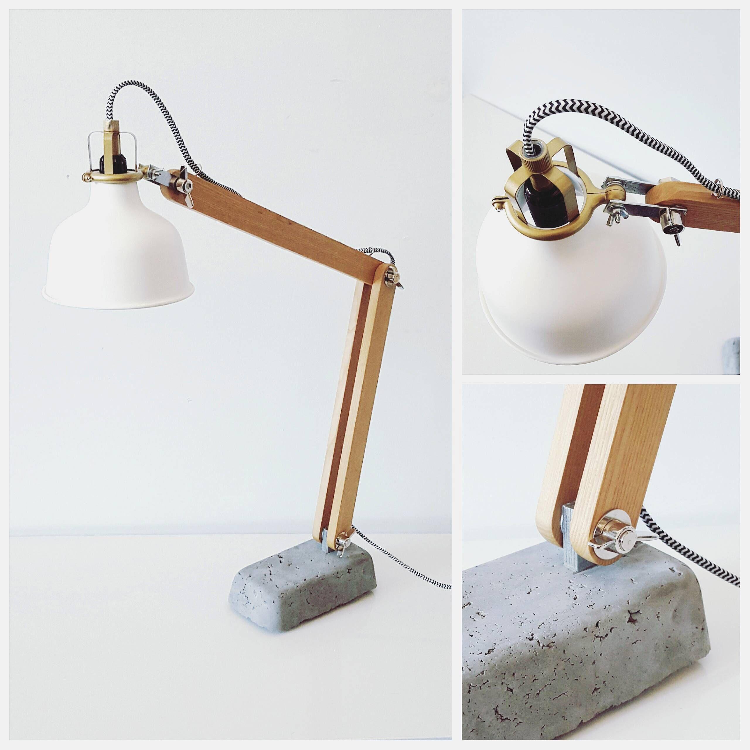 Wooden & concrete desk lamp Table lamp wood, Wood desk