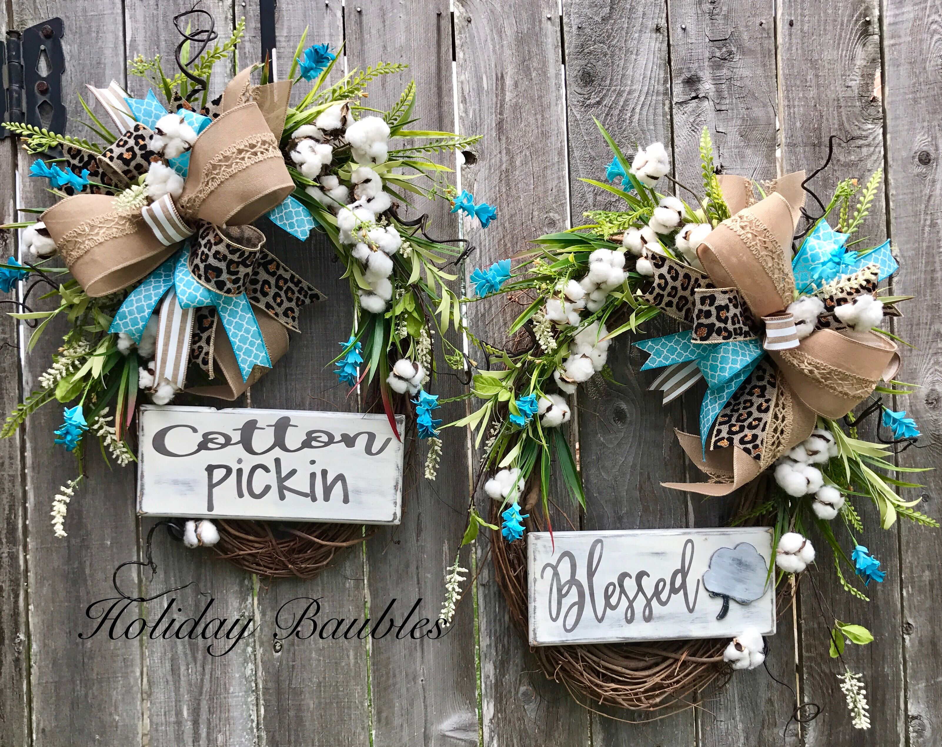 Cotton Pickin Blessed Double Front Doors By Holiday Baubles