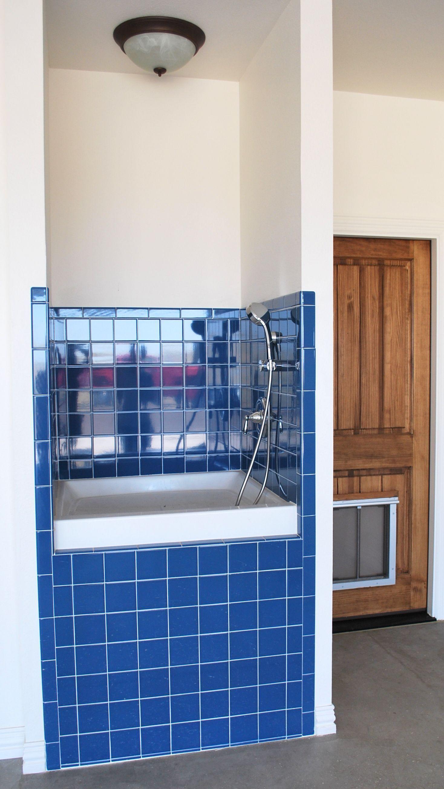 Special Dog Bathtub In Garage Features Handheld Shower Head Dog