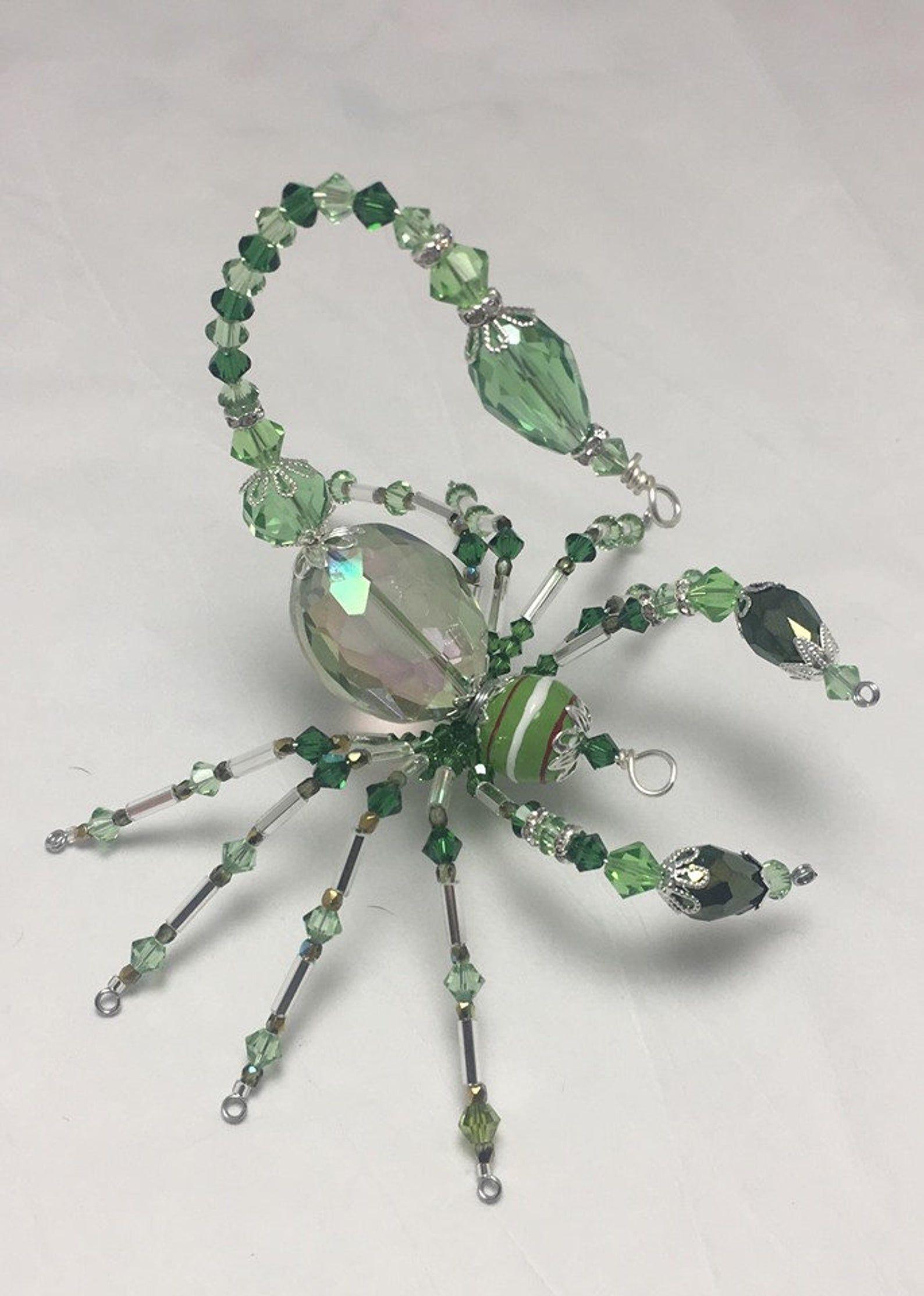 Handmade Wired Glass Crystal Mini Spider Suncatchers .