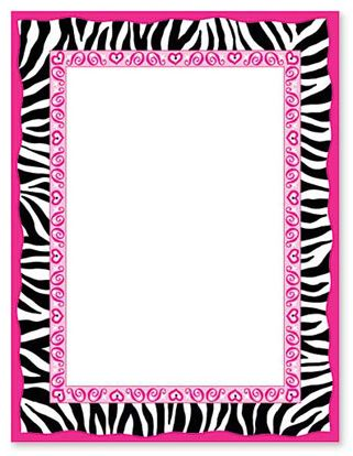 free hot pink zebra print border |  personalize your card with, Birthday invitations