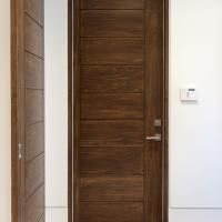 TM9000 house-to-garage fire door in walnut with asymmetric stiles and kerf cut & TM9000 house-to-garage fire door in walnut with asymmetric stiles ... Pezcame.Com